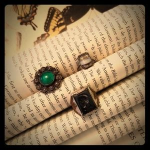 Set lot of 3 antique vintage rings unique patina!